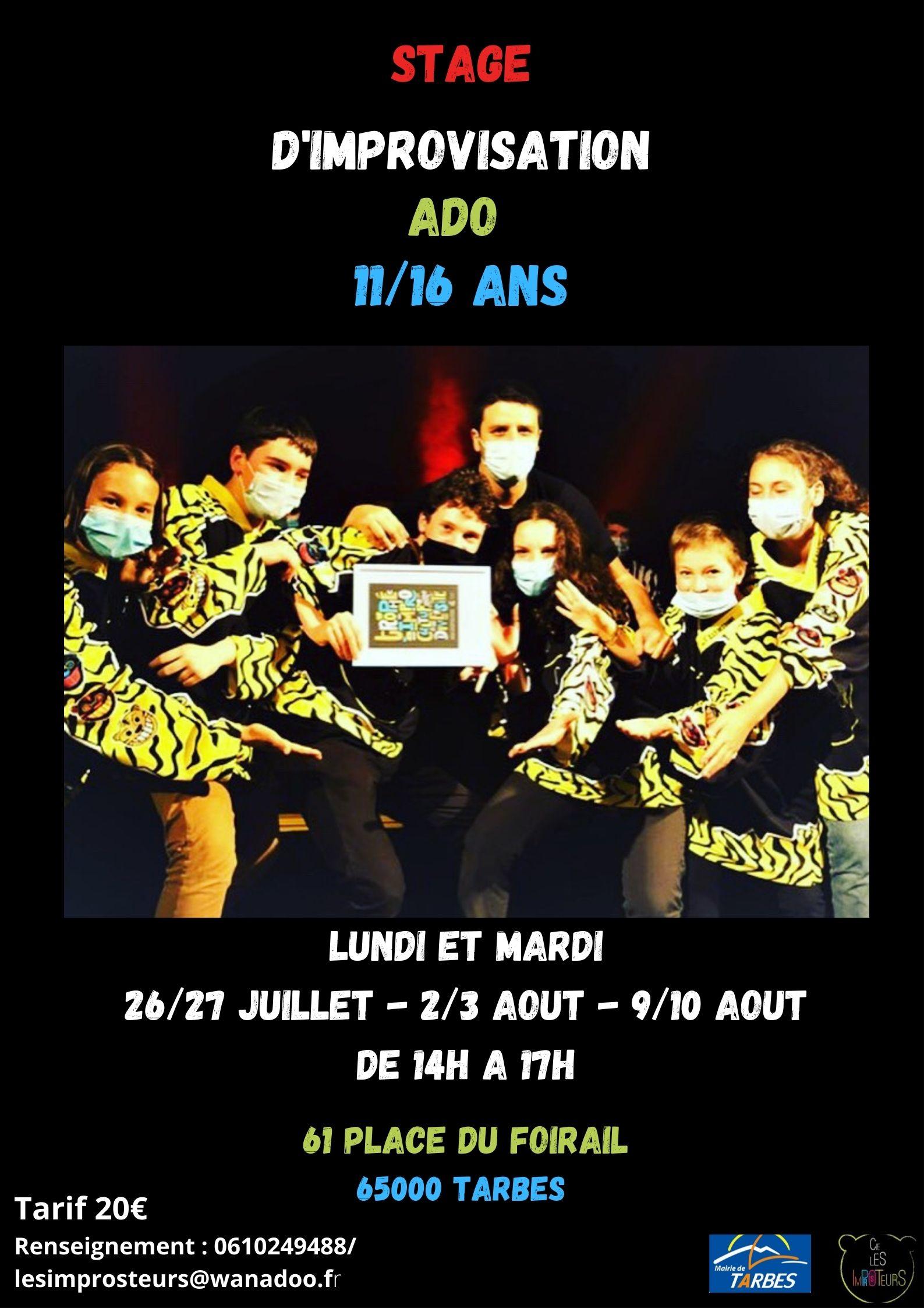 Stage d'improvisation théâtrale 11/16 ans